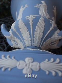 Vintage Wedgwood Pale Blue Jasperware Large Lidded Urn C1970