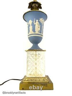 Vintage Wedgwood Porcelain Blue Jasperware Lamp Vase With Crystal Base