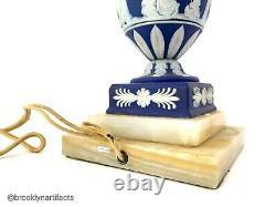 Vintage Wedgwood Porcelain Blue Jasperware Lamp Vase or Urn with Marble Base