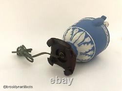 Vintage Wedgwood Porcelain Light Blue Jasperware Chariot Lamp Vase