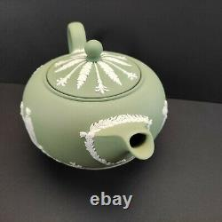 Vintage Wedgwood Sage Green Jasperware 5 High Teapot