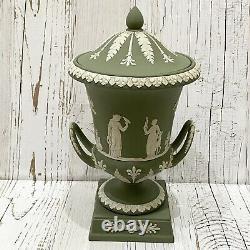Vintage Wedgwood Sage Green Jasperware Large 11.5 Campana Pedestal Urn With Lid