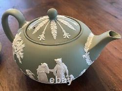 Vintage Wedgwood Sage Green Jasperware Tea Set Pot Cream Sugar Cups Saucers