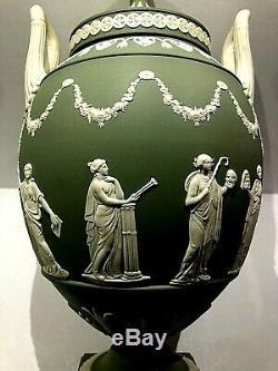 Vintage Wedgwood Sage Green(Solid) Vase (1316) Muses Jasperware 12.75 New