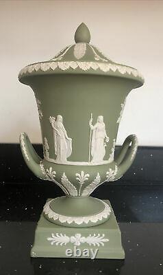 Vintage Wedgwood Sage Green & White Jasperware Large Campana Pedestal Urn With Lid