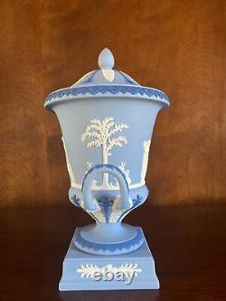Vintage Wedgwood Tricolor Jasperware Campana Pedestal Urn Vase On Plinth