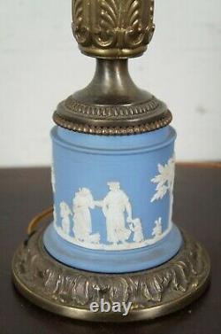 Vintage Wedgwood Tyndale Blue Jasperware Neoclassical Desk or Table Lamp 22
