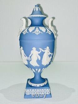 Vintage Wedgwood blue Jasperware Dancing Hours Urn Vase With Lid Bacchus