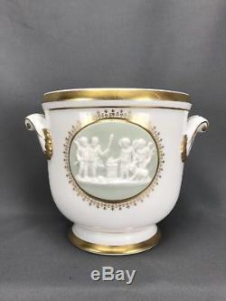 Vista Alegre VA Portugal Wedgwood Style Jasperware Seal Heavy Gold Cachepot