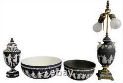 Vtg. Lg 10 Wedgwood Black Jasperware Dancing Hours Urn Vase withLid Finial NICE