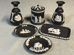 WEDGWOOD 7 piece BASALT JASPERWARE Vase Cylinder Trinket Box & Dish SET