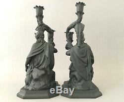 WEDGWOOD & BENTLEY BLACK JASPER MINERVA & DIANA FIGURAL CANDLESTICKS Ltd Ed 200