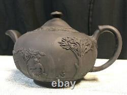 WEDGWOOD BLACK BASALT JASPERWARE Neoclassical Tea Pot w Lid