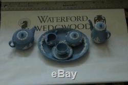 WEDGWOOD BLUE JASPERWARE MINIATURE TEA SET 10 PIECES Pristine condition