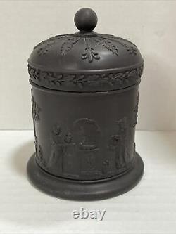 WEDGWOOD Black Basalt JASPERWARE Lidded Olympus or TOBACCO JAR Round Container