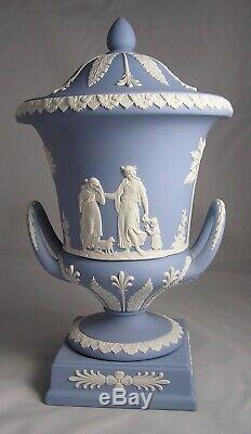 WEDGWOOD Blue Jasperware Campana Footed Pedestal Urn Vase Handles & Lid MINT