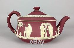 WEDGWOOD CRIMSON- c19th RED WINE DIP JASPER WARE NEOCLASSICAL TEA COFFEE POT JUG