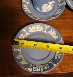 WEDGWOOD Demitasse Cup and Saucer SET of 9 blue Jasperware Jasper ware RARE SET