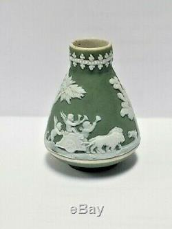 WEDGWOOD England RARE JASPERWARE celadon green dollhouse vase 1890's, 1-1/2