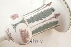WEDGWOOD JASPERWARE 7.5 Tricolor Lilac Green WhiteC1860 Pedestal Vase Urn NICE