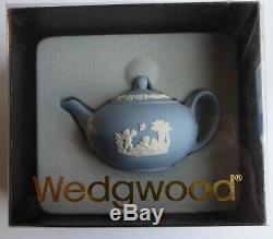 WEDGWOOD JASPERWARE BLUE 7 PIECE MINIATURE TEA/COFFEE SET WithTRAY, ORIG. PACKAGES