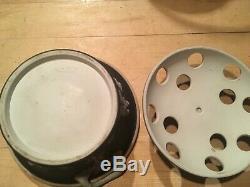 WEDGWOOD Jasperware Black Dip 6 Potpourri Dish Lid Handles Frog Pre 1890 NICE