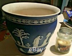 WEDGWOOD Jasperware COBALT DARK BLUE DIP Rare Large 7x6.5 JARDINIERE Pot NICE