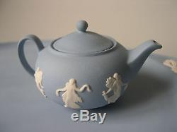 WEDGWOOD MINIATURE BLUE & WHITE JASPER WARE The Dancing Hours TEA SET