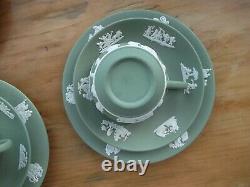WEdgwood 22 Piece Green Jasper Ware Tea Set Vintage 1950's