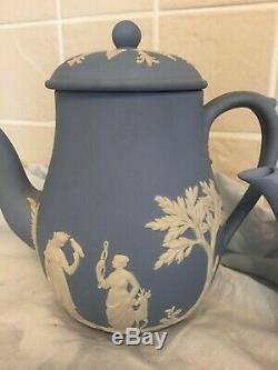 Wedgewood Blue Jasperware Tea Pot & Coffee Pot