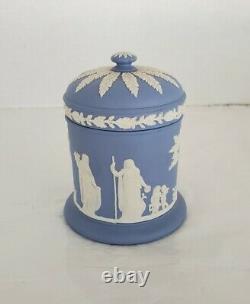 Wedgewood Blue Jasperware Tea Set Teapot Creamer Sugar Bowl Cigarette Holder'53