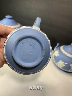 Wedgewood Blue Jasperware Tea Set Teapot Creamer and Sugar Bowl 1954 1953