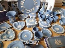 Wedgewood Blue jasperware 67 Piece Joblot Plates, Teapot Sets, Vases, Clock