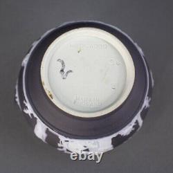 Wedgewood England Antique Black Jasperware Creamer & Lidded Sugar Bowl Set Of 2