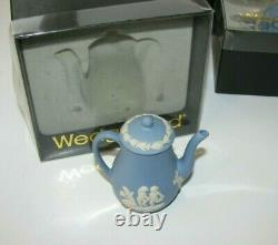 Wedgewood Jasperware Miniature Blue Tea & Coffee Set In Original Boxes -Vintage
