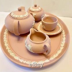 Wedgewood Jasperware Tea Set Pink Mini Miniature 8 Piece Vintage Heirloom