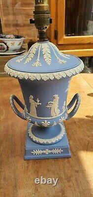Wedgewood jasperware blue Urns/Lamps x 2 1970 /71