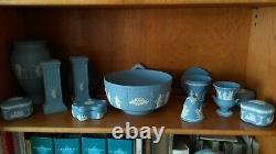 Wedgewood jasperware blue including millennium clock & bowl. 15 items