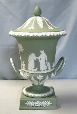 Wedgwood 11 1/2 Green Jasperware Campana Urn # 2