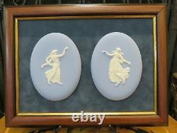 Wedgwood 2000 Special Events Jasperware 2 Oval Floral Girl Cameo Framed Plaque