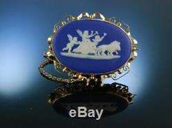 Wedgwood! Antike Porzellan Brosche Blue Jasper Ware Gold 375 England Um 1880