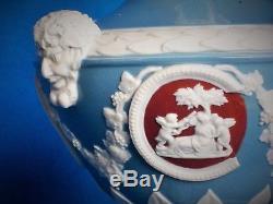 Wedgwood Barber Bottle Vase Jasper Ware Jasper Dip Tricolour Bacchus Heads Teal