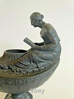 Wedgwood Black Basalt Jasperware Aladdin Vestal Oil Lamp Woman Reading c 1850
