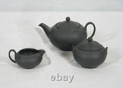 Wedgwood Black Basalt Jasperware Mini / Miniature 5 Piece Tea Set New