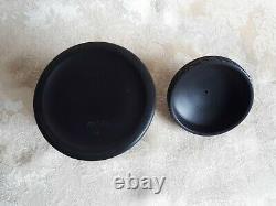 Wedgwood Black Basalt Jasperware Round Container, Olympus Or Tobacco Jar