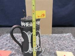 Wedgwood Black Basalt Pitcher Water Beverage Lid Stein Jasperware Pot Jar Dish