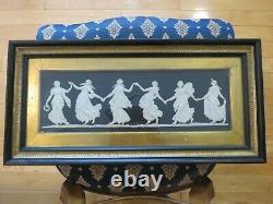 Wedgwood Black Jasper Dip Jasperware Dancing Hours Large Framed Plaque c. 1840s