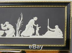 Wedgwood Black Jasperware Birth and Dipping of Achilles Framed Gilded Plaque