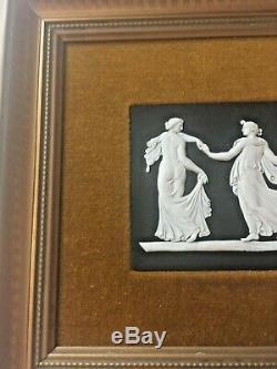 Wedgwood Black Jasperware Dancing Hours Plaque in Frame Felt matting 13x7 NICE