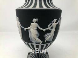 Wedgwood Black Jasperware Dancing Hours Urn Vase 1955 9.5 AS IS